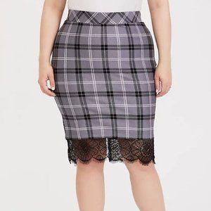 Torrid Lace Trim Pencil Skirt Ponte 4x NWT